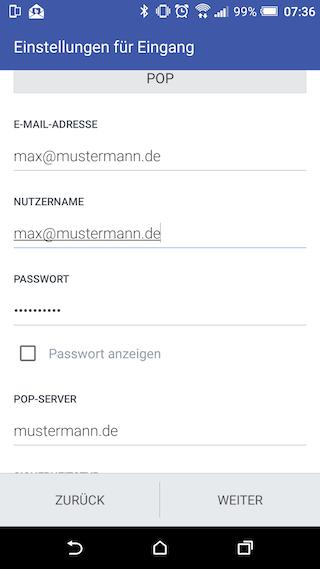 WebhostOne - Wie richte ich den E-Mail-Abruf auf meinem Android ...
